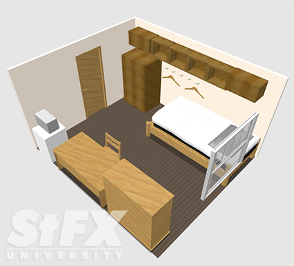 Traditional single room in residence at StFX